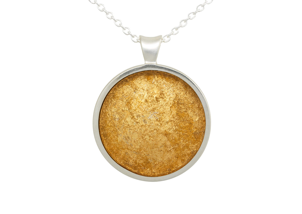 24ct Gold Leaf Round Resin Pendant, Sterling Silver