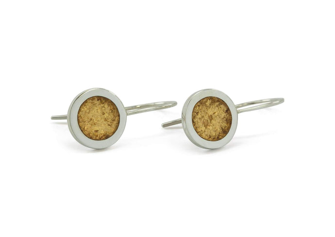 Sterling Silver Round Earrings with Gold Leaf