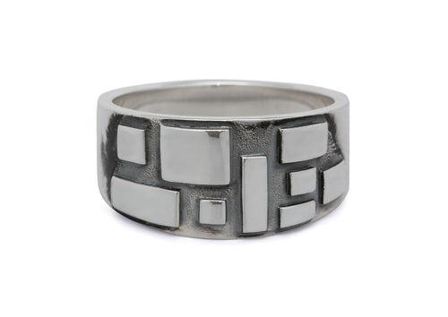 Retro Geometric Ring, Sterling Silver
