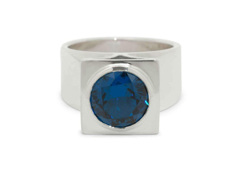 Square Pavilion Gemstone Ring, Sterling Silver