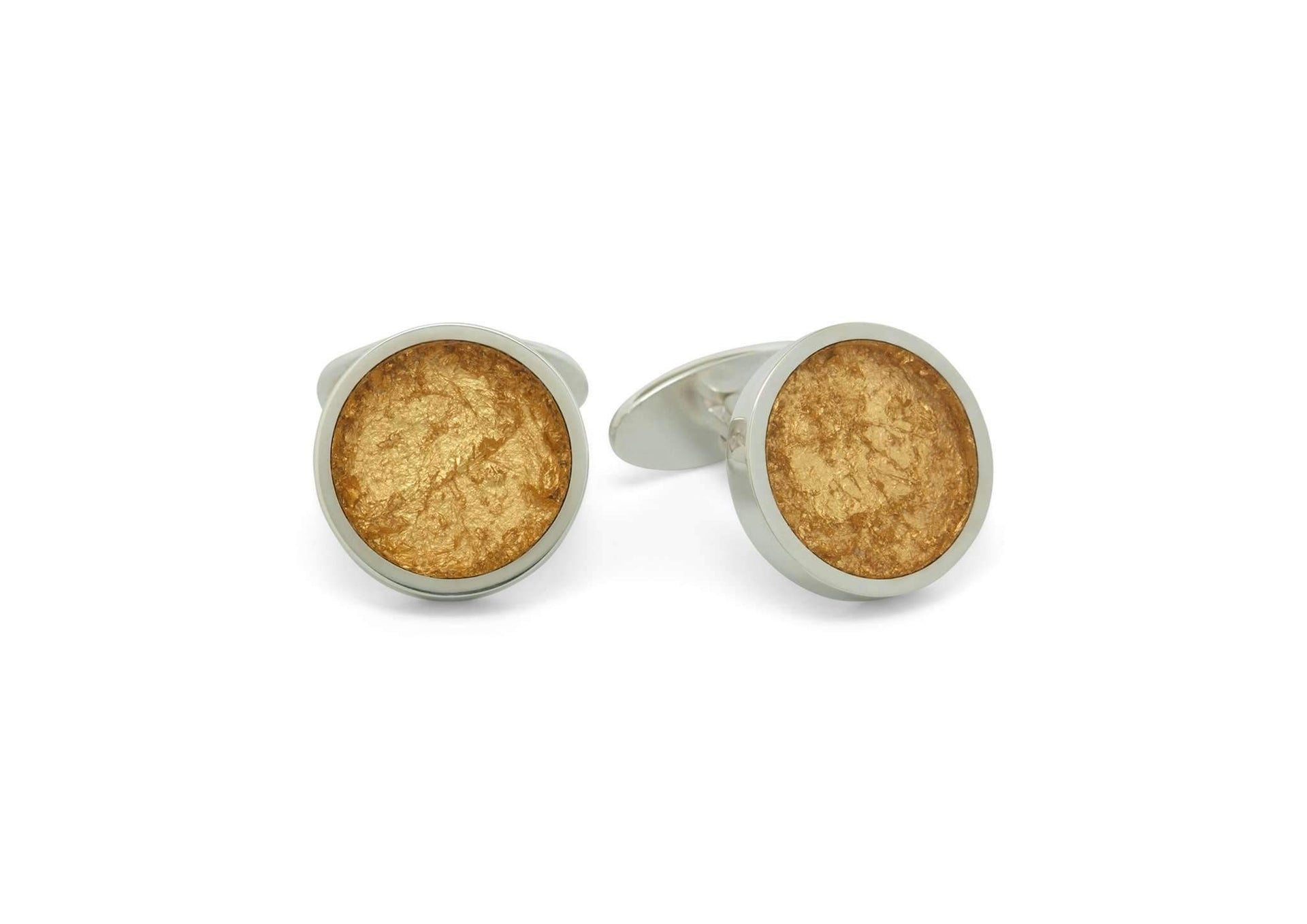 24ct Gold Leaf Round Cufflinks, Sterling Silver
