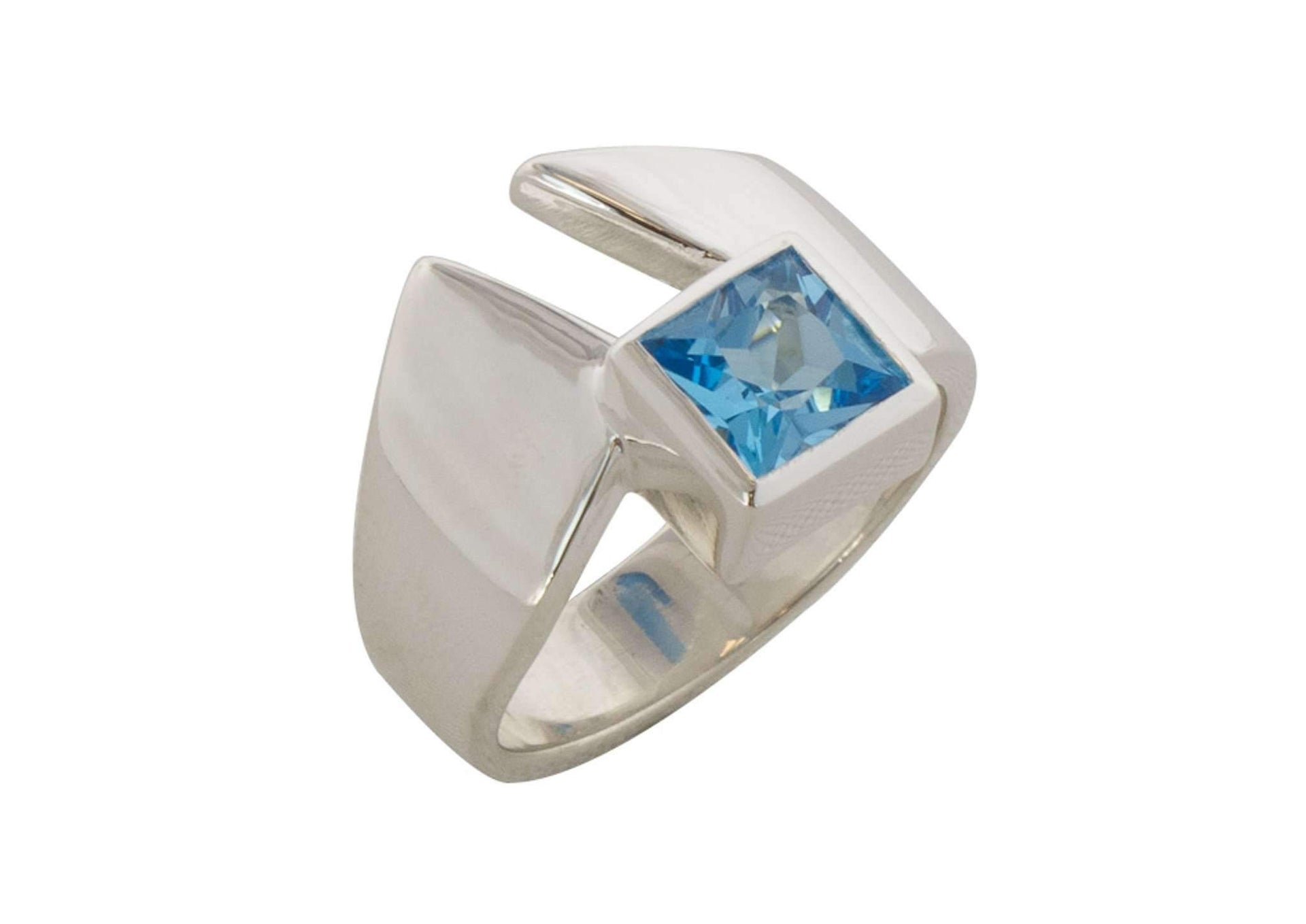 Classic Princess Cut Gemstone Ring, Sterling Silver
