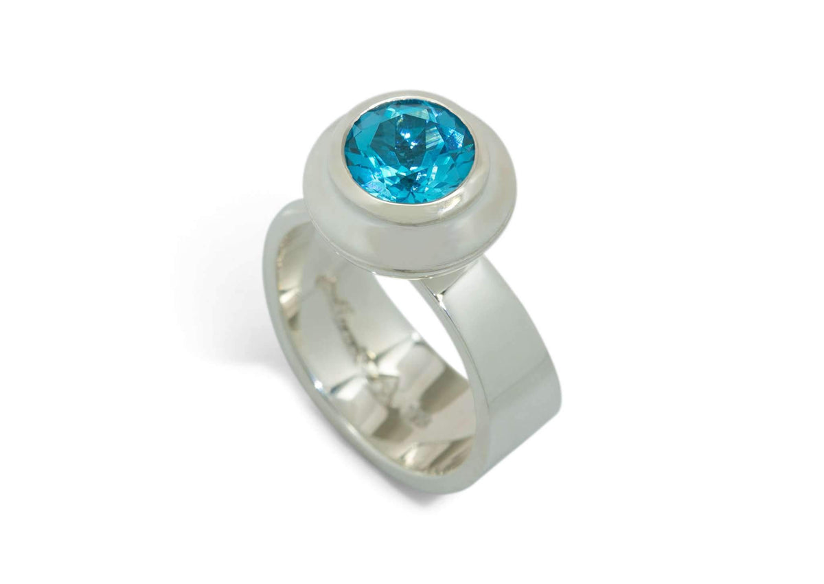 Round Gemstone Ring, Sterling Silver