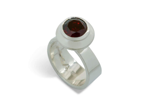 Round Faceted Gemstone Ring, Sterling Silver