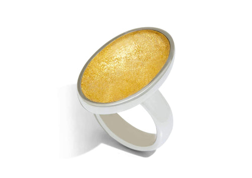 24ct Gold Leaf Large Oval Resin Ring, Sterling Silver