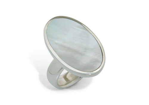 Mother of Pearl Oval Ring, Sterling Silver