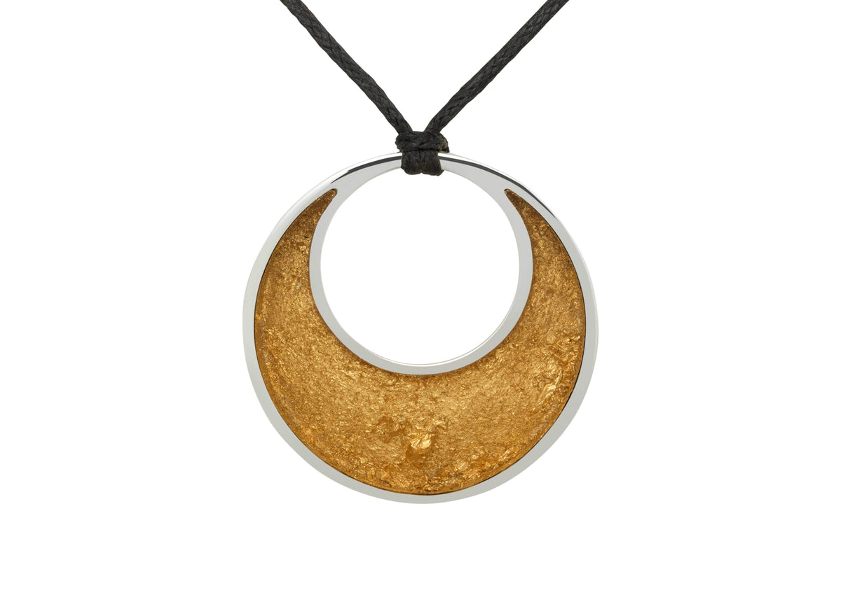 24ct Gold Leaf Crescent Moon Pendant, Sterling Silver