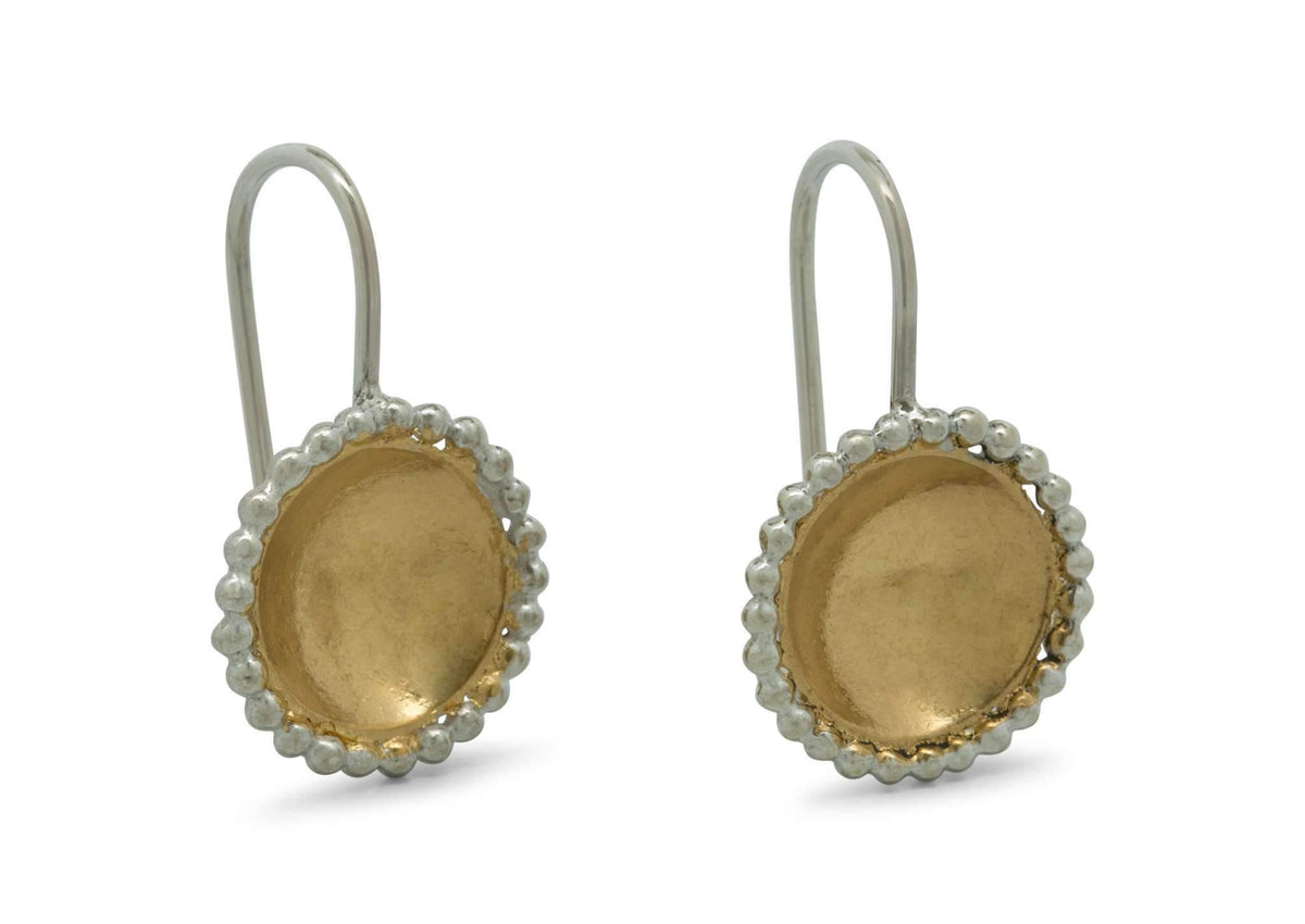 Round Gold Bond Earrings, Sterling Silver