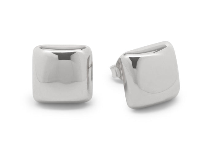 Square Domed Studs, Sterling Silver