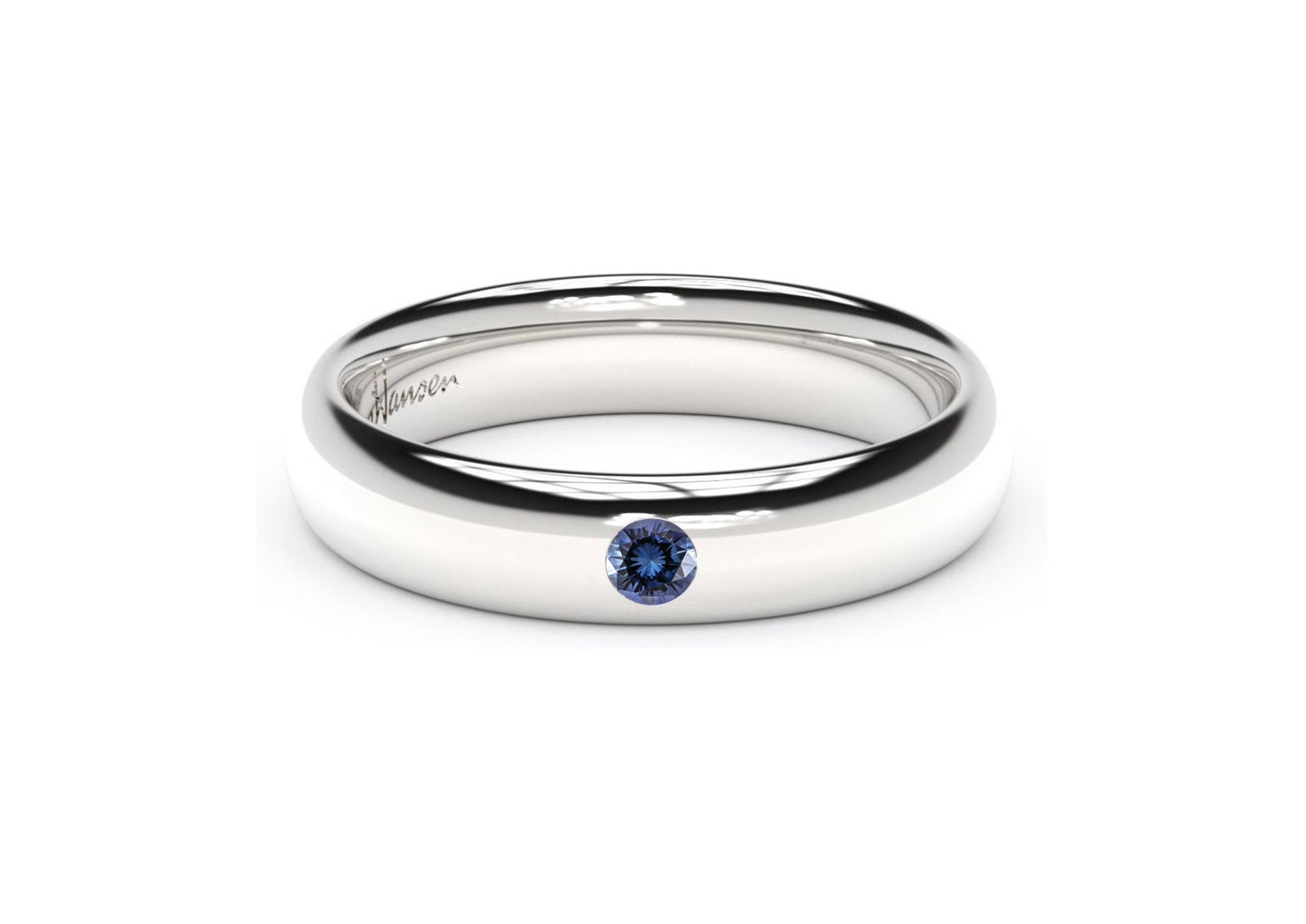 Sleek Gemstone Ring, White Gold & Platinum