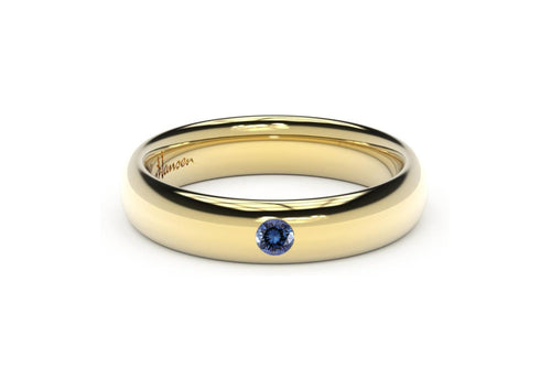 Sleek Gemstone Ring, Yellow Gold