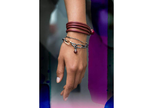 Design Bracelet in Leather - Red Wine