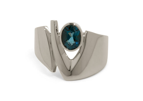 Signature Gemstone Ring, White Gold & Platinum