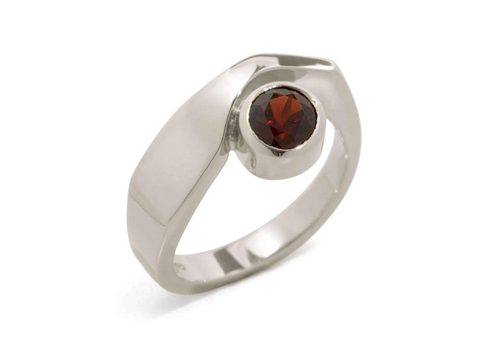 Contemporary Gemstone Ring, White Gold & Platinum
