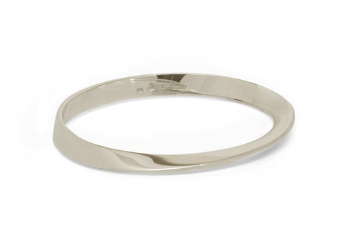 Möbius Twist Bangle, White Gold & Platinum
