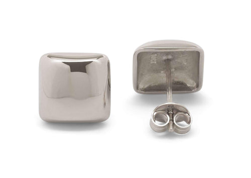 Square Domed Studs, White Gold & Platinum