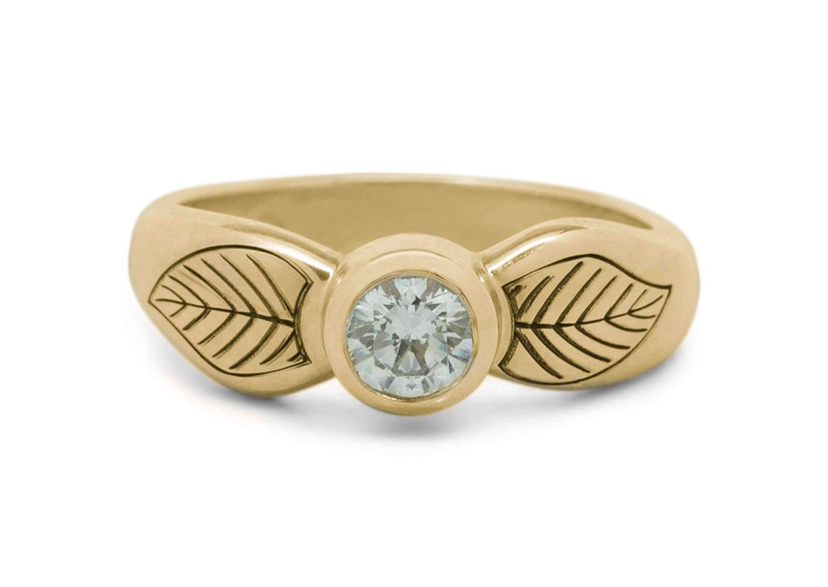 Engraved Elven Ring, Yellow Gold