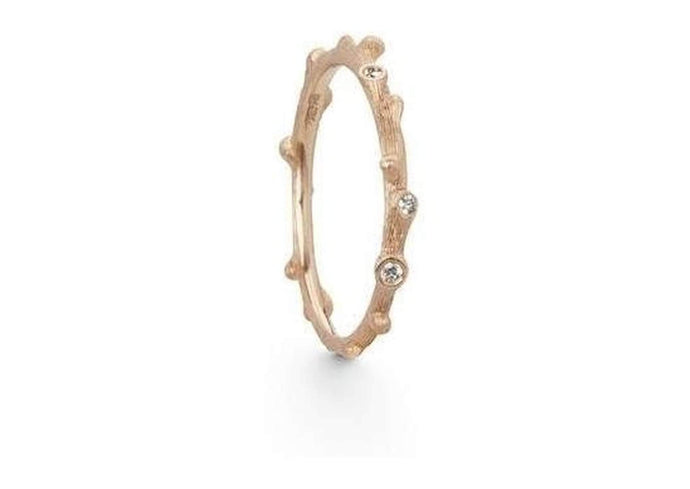 Nature ring in 18K rose gold and diamonds TW.VS-by-Ole Lynggaard-from official stockist-Jens Hansen