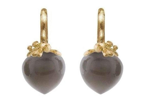 Dew Drops earrings in 18K yellow gold with grey moonstone-by-Ole Lynggaard-from official stockist-Jens Hansen