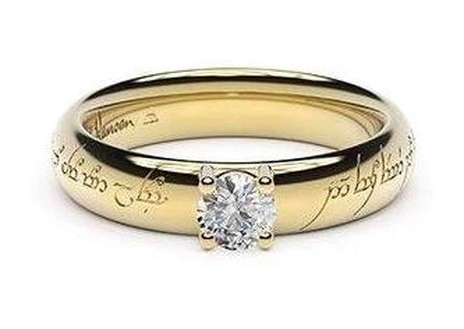 Contemporary Elvish Engagement Ring, ~.33ct 18ct Yellow Gold