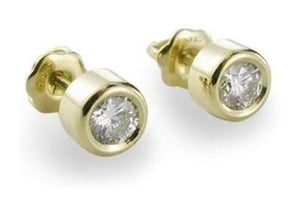 1/4ct Diamond Barrel Studs in 18ct Gold   - Jens Hansen