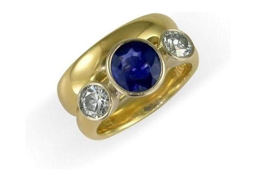 18ct Gold & Diamond and Sapphire Ring   - Jens Hansen