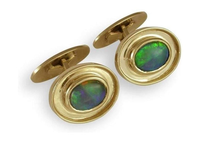 18ct & Black Opal Cuff Links   - Jens Hansen