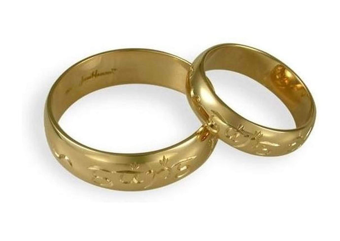 18ct Engraved Wedding Ring Set   - Jens Hansen