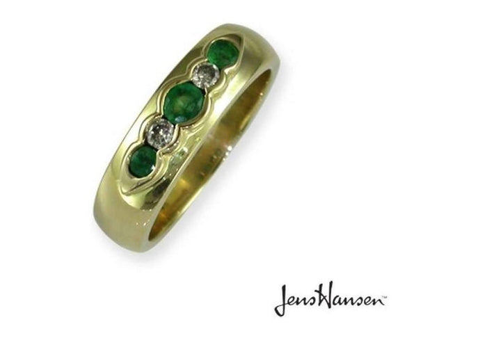 18ct Gold Comfort Band with Emerald & Diamonds   - Jens Hansen