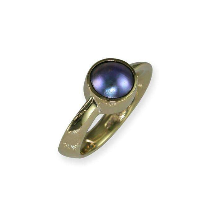 Twisted Ring with New Zealand Paua Pearl Yellow Gold – Jens Hansen