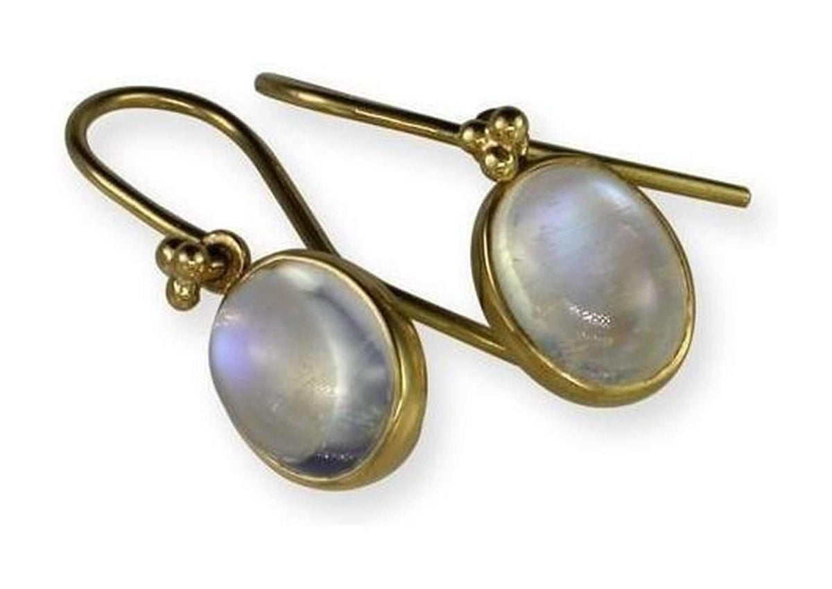 Luminescent Moonstone Earrings, Yellow Gold