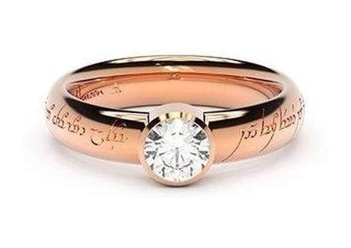 Modern Elvish Engagement Ring, ~.50ct 14ct Red Gold