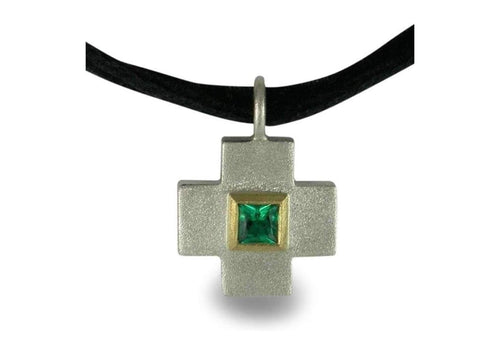 Silver & 9ct Gold Cross with Biron Emerald   - Jens Hansen
