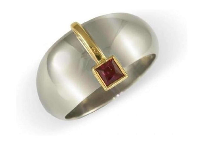 18ct Dome Ring with a Ruby   - Jens Hansen