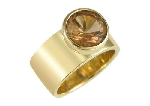 9ct yellow gold and Champagne Cubic Zirconia Ring   - Jens Hansen