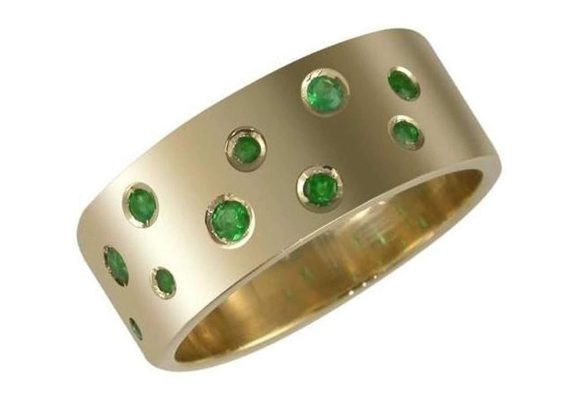 9ct Gold and Biron Emerald Ring   - Jens Hansen