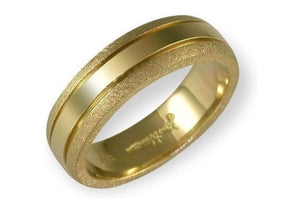 18ct yellow gold band with satin finished edges   - Jens Hansen