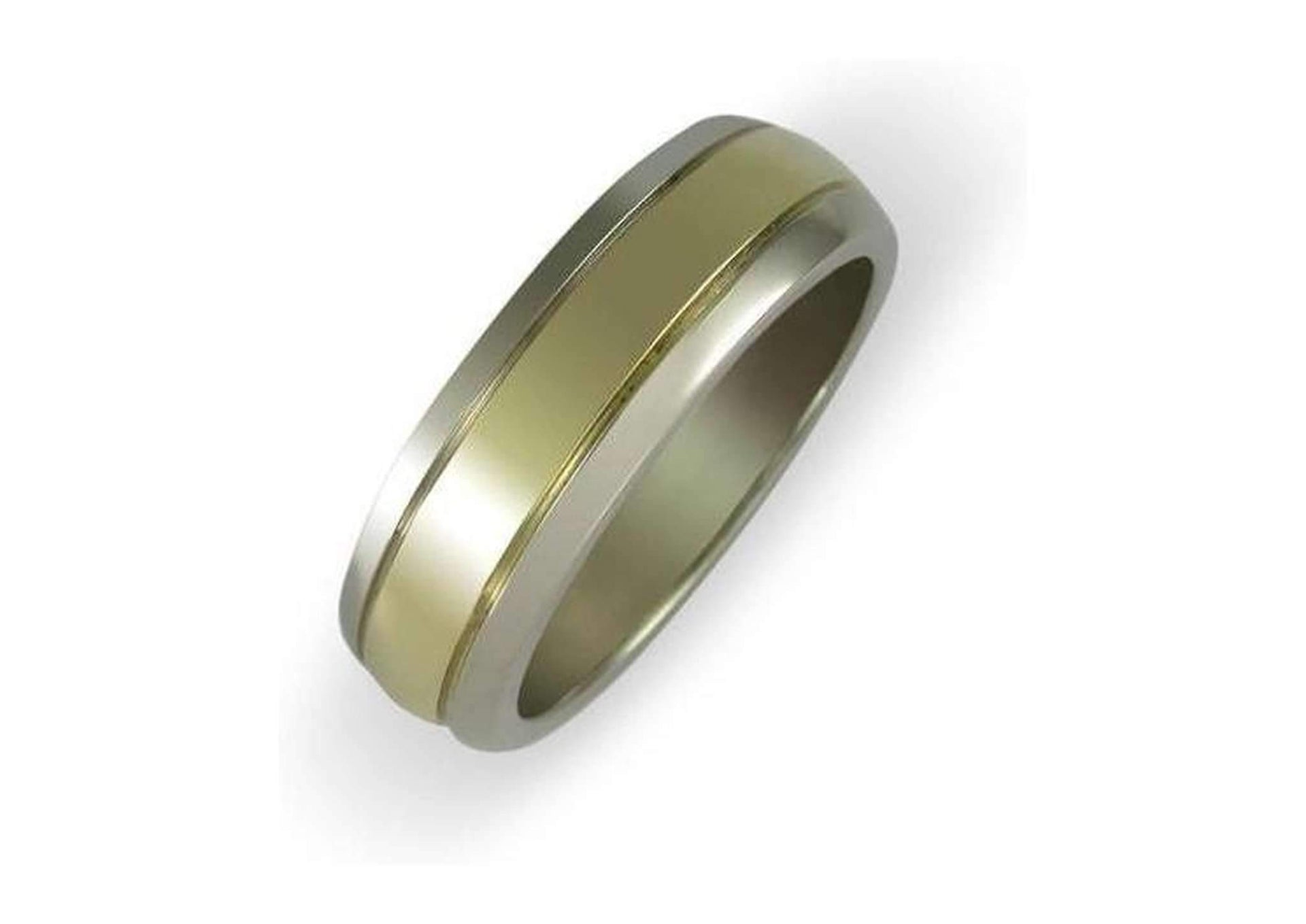 18ct White gold band with centre yellow gold strip   - Jens Hansen