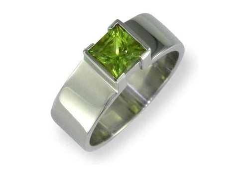 Green Peridot  in white gold Ring   - Jens Hansen