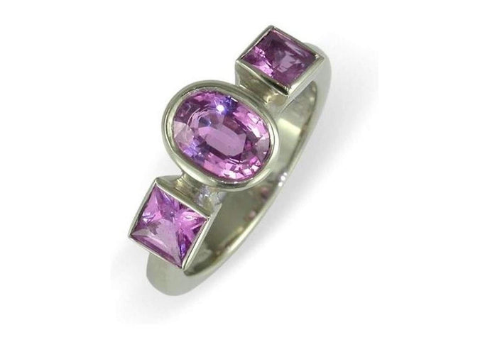 18ct White gold & pink tourmaline ring   - Jens Hansen
