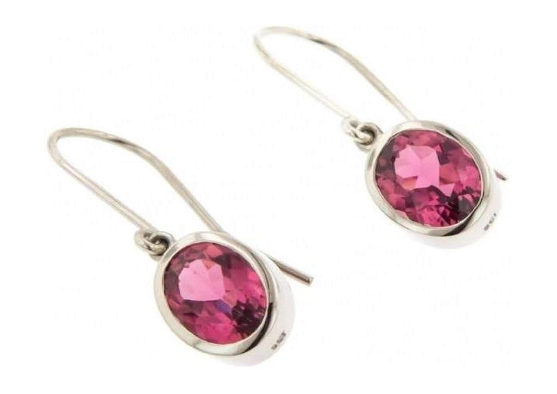 White Gold & Pink Tourmaline Earrings   - Jens Hansen