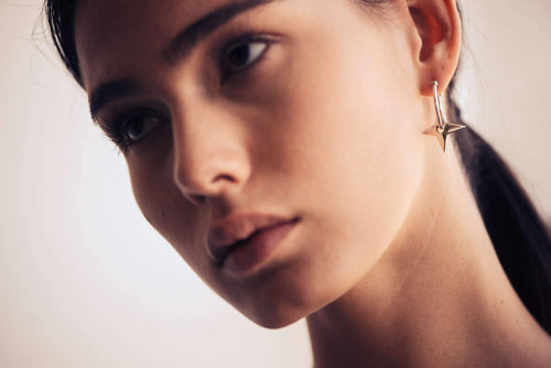 Silver Earrings Stars on Hoops