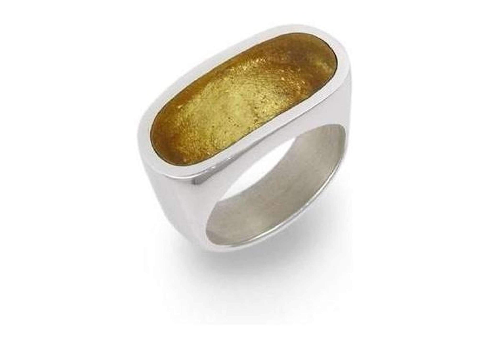 Oblong Silver & Gold leaf Resin Ring   - Jens Hansen