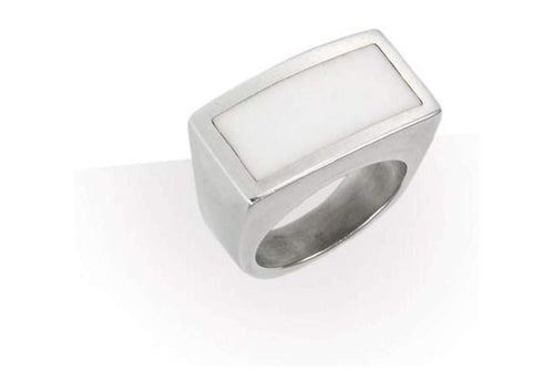 Silver and Resin Ring White   - Jens Hansen
