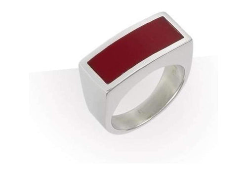 Silver and Resin Ring Red   - Jens Hansen
