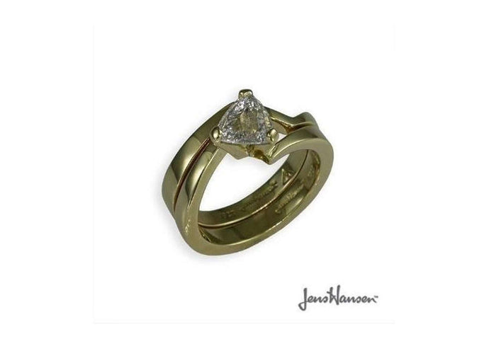 18ct & Trillion cut Diamond Ring with Matching Band   - Jens Hansen