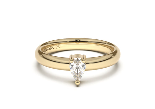 Pear Classic Slim Engagement Ring, Yellow Gold