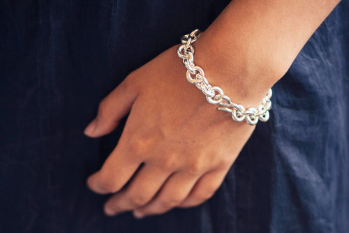 Open Round Link Bracelet, Pure Silver