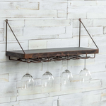 Aged Metal Shelf with Stemware Rack