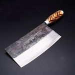 Handmade High Carbon Forged Kitchen Cleaver with Wood Handle
